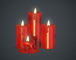 3D asset Red Candles PBR Game Ready