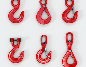 3D set of New Red lifting crane hooks VR / AR ready