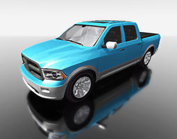 blue truck for games 3d model