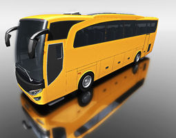 3d yellow travel bus for games