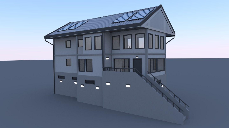 Modern townhouse 3d model obj for Townhouse modern design exterior