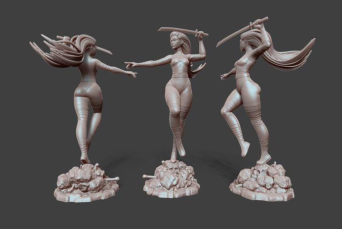 psylocke pose 3 3d model obj mtl stl ztl 1
