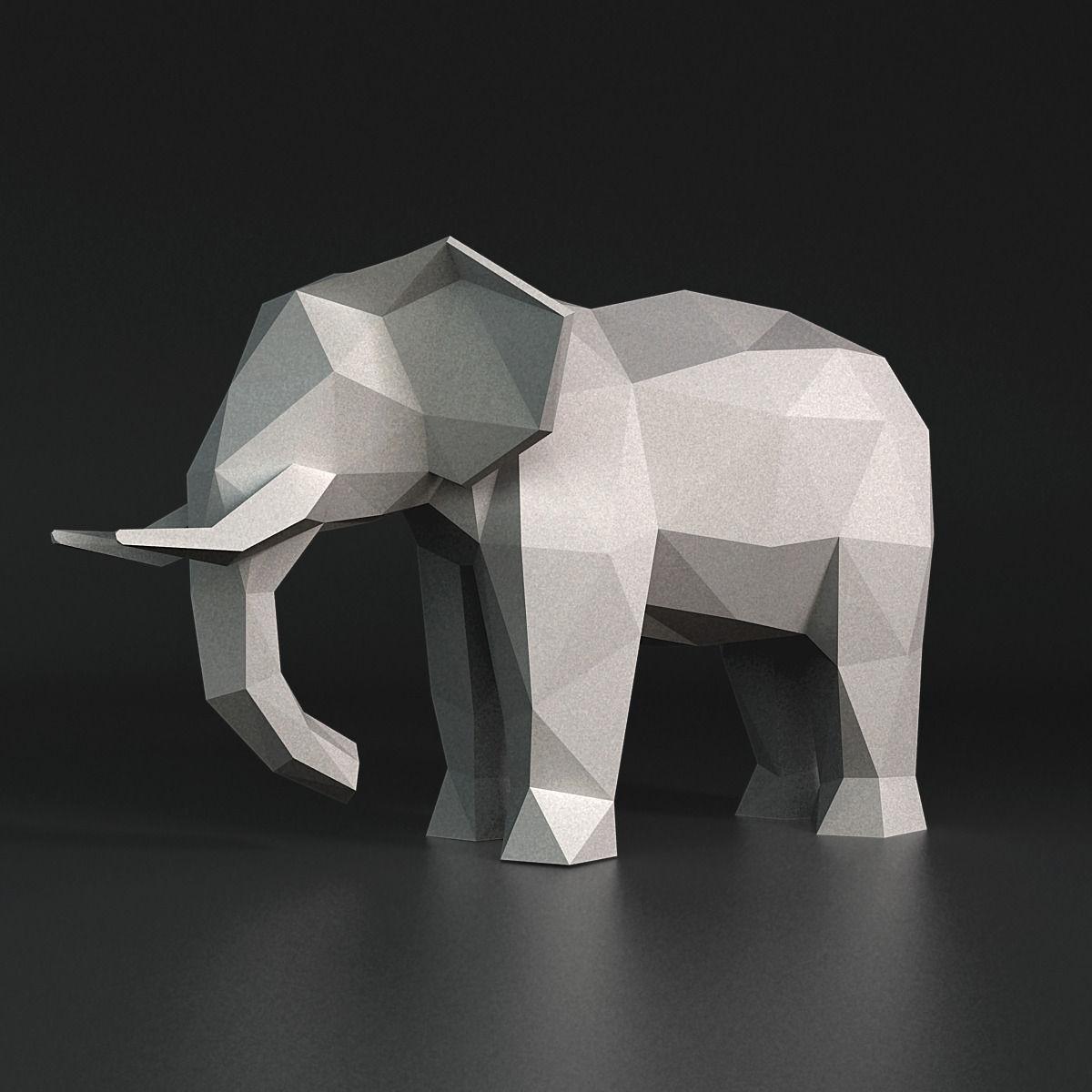 Lowpoly Elephant Sculpture 3d Model Obj 3ds Stl 9