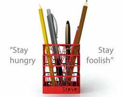3d print model steve jobs quote pen holder
