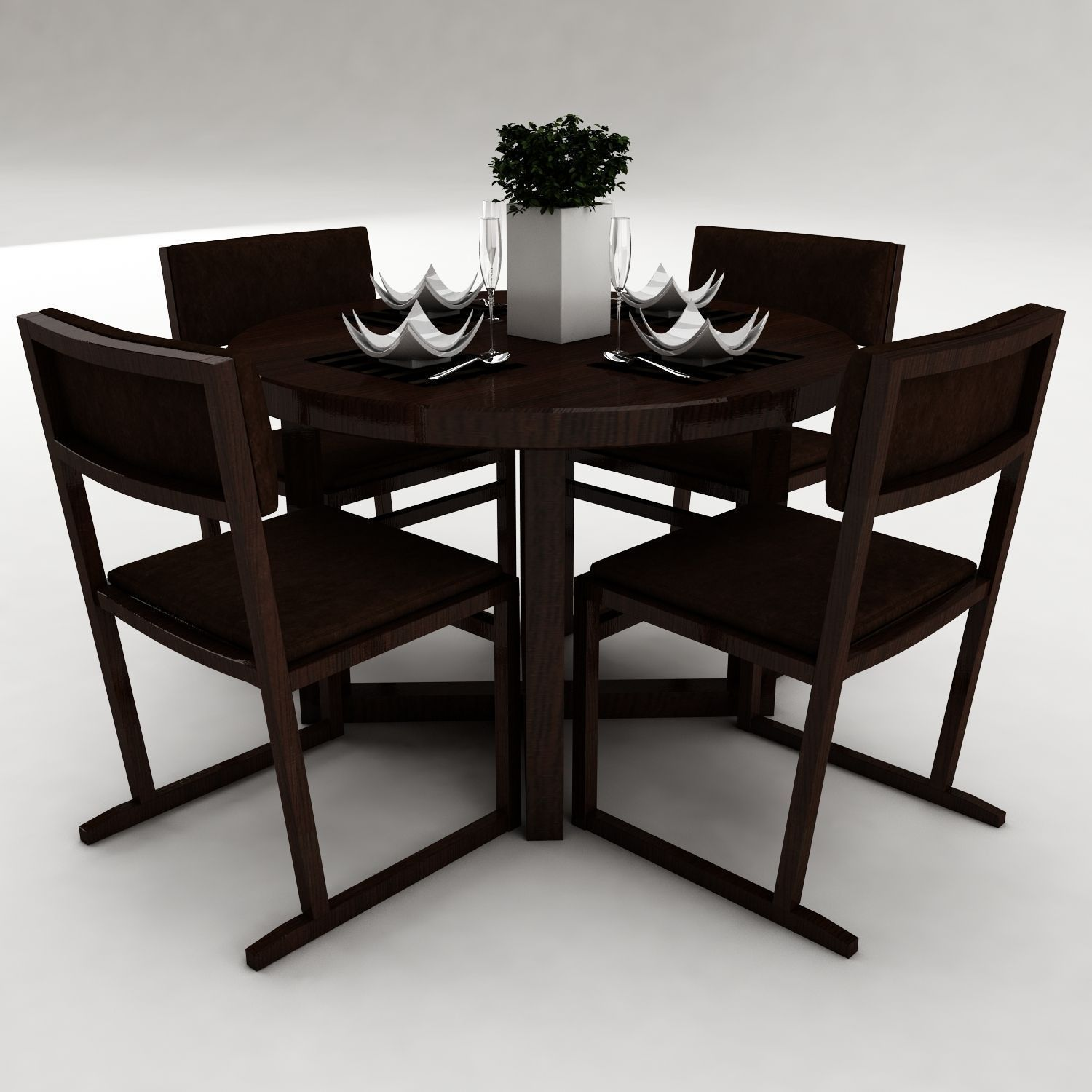 Dining table set 33 3d model max obj 3ds fbx for Dining table latest model