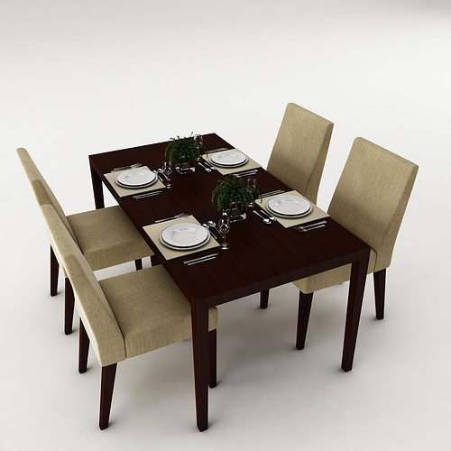 Dining table set 34 3d model max obj 3ds fbx mtl for Dining table latest model