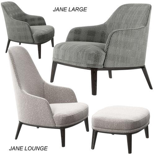 poliform jane lounge and large armchairs 3d model max obj mtl 1