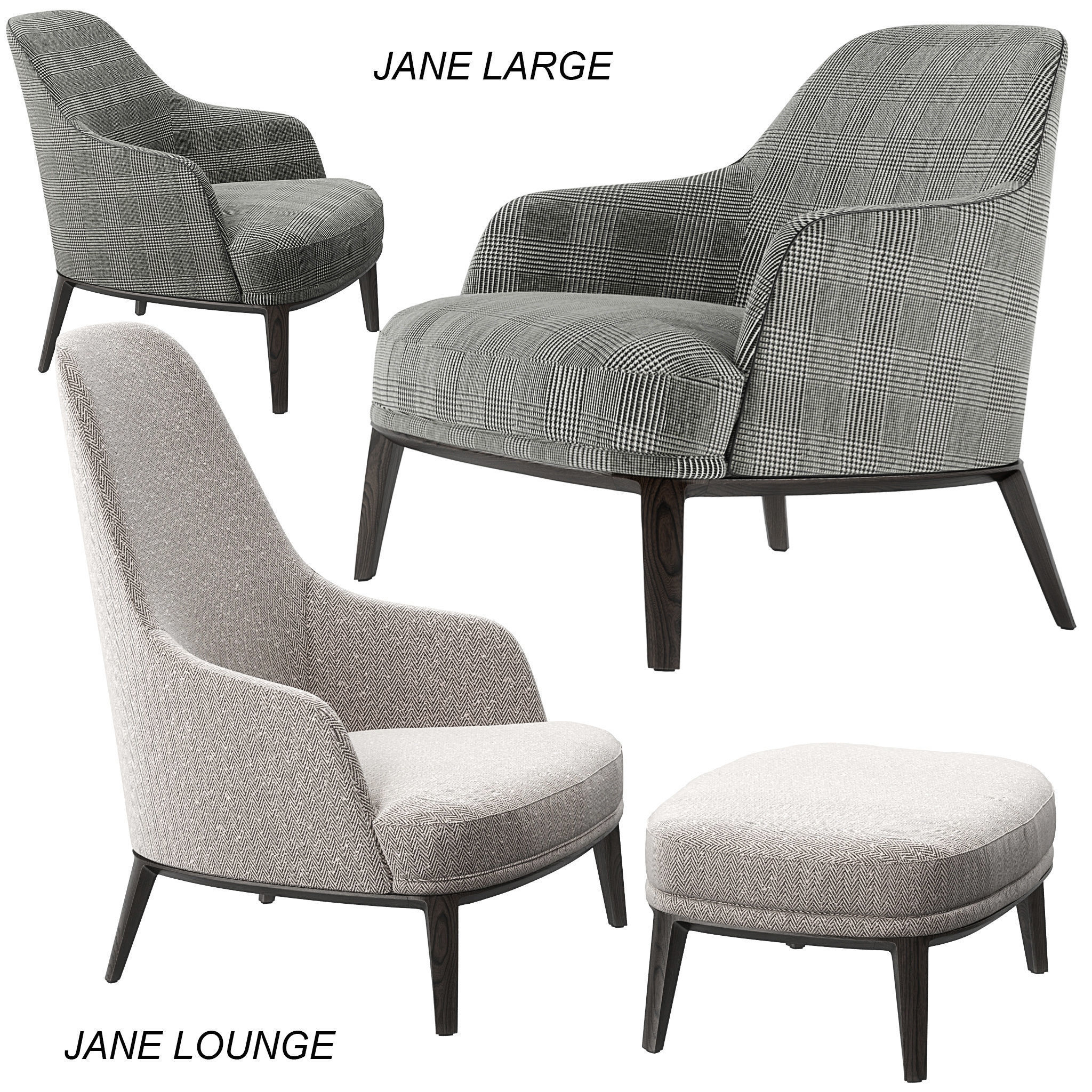 Poliform Jane Lounge and Large armchairs 3D model MAX OBJ