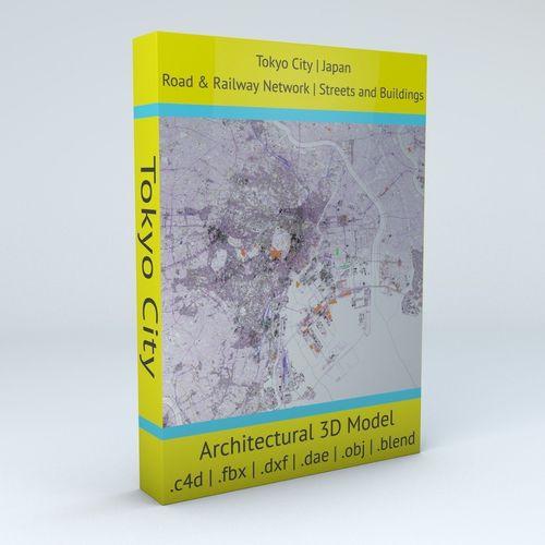 tokyo city railway system road network streets and buildings 3d model obj mtl fbx c4d dxf blend dae 1