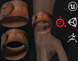 3D model VR / AR ready Leather bracelet