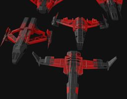 3D model Low Poly Spaceship collection