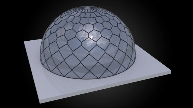 dome hexagonal grid triangles to hexagon pattern structure 3d model obj 3ds fbx dxf stl dae 1