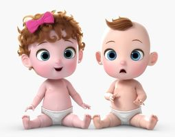3D Cartoon Twin Baby Rigged