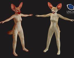 3D asset Anthropomorphic Fennec Fox Base Model