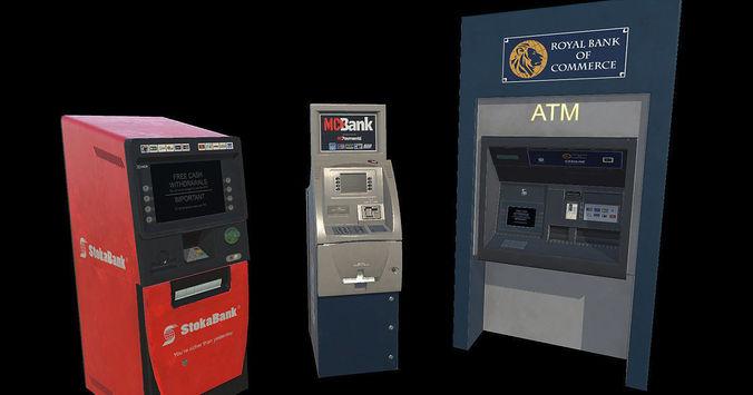 atm bank machine set of 3 3d model low-poly fbx 1