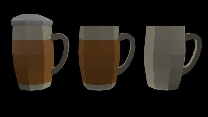 Low Poly Beer Mugs 1