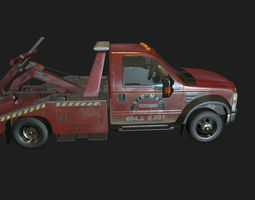 Red Tow Truck 3D model