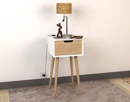 3D model Bedside Table - Set Decoration Bedroom 01
