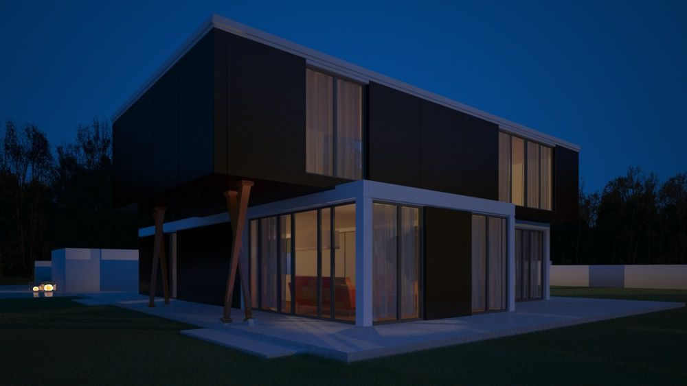 Night Vray Exterior Scene Cinema 4D | 3D model