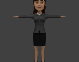 Businness Woman Cartoon 3D Model