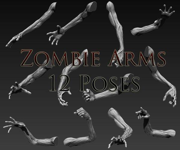 zombie arms 12 poses 3d model obj mtl ztl 1