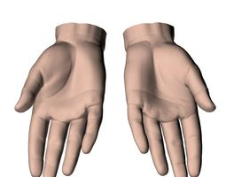 3D model hands flat out
