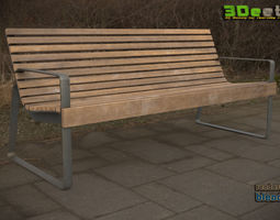 game-ready 3D modern low poly PBR bench