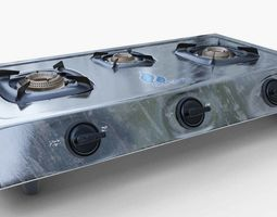 Gas Stove stainless steel 3D