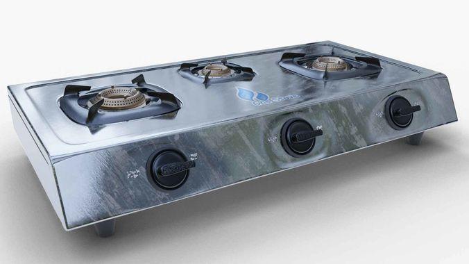 gas stove stainless steel 3d model obj fbx blend 1