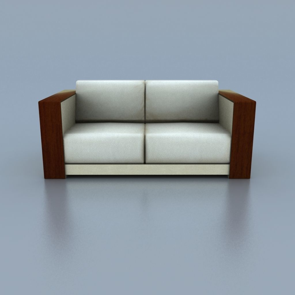 Two Seat Wooden Beige Leather Couch Model Low Poly Fbx Unitypackage Prefab 4