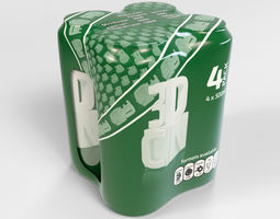 3D Model of 4 500ml cans in a plastic shrinkwrap