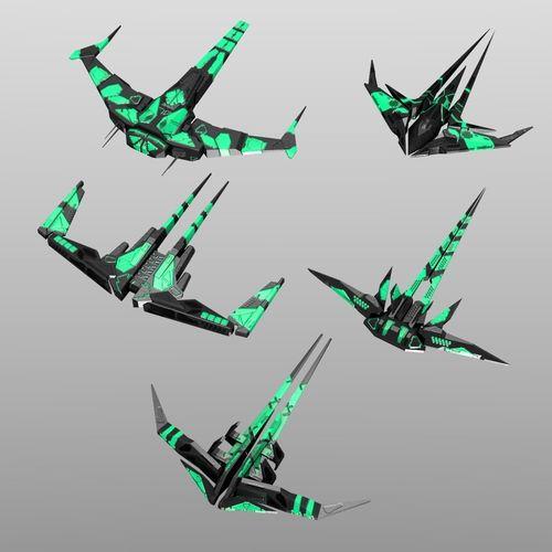 alien spaceship set 3d model low-poly obj mtl fbx blend 1