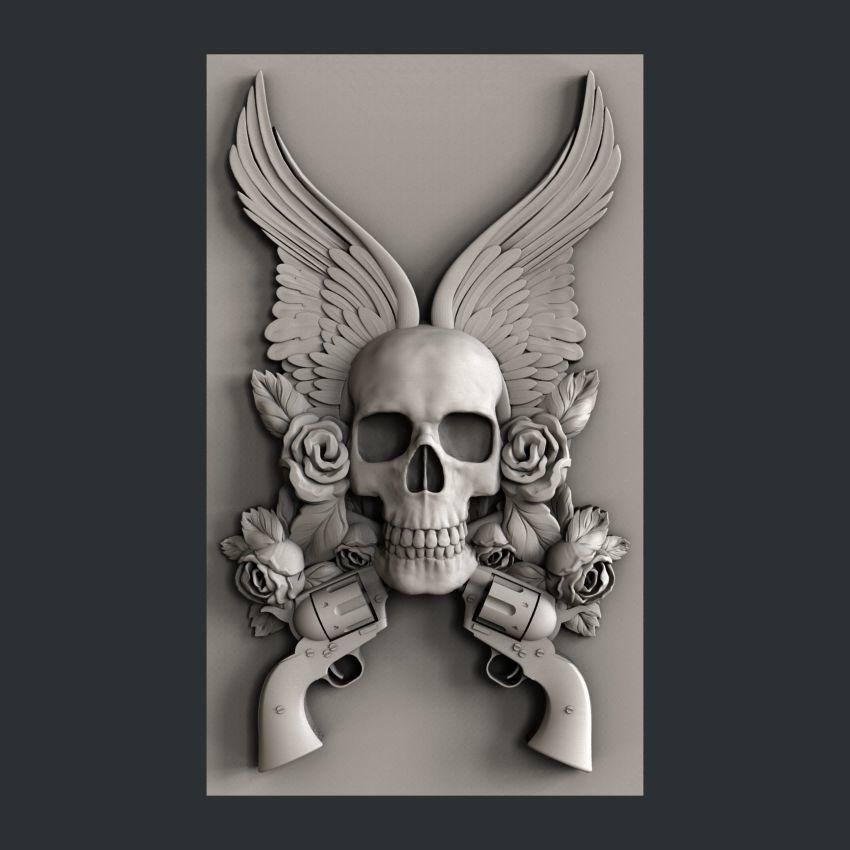 3d STL models for CNC skull guns | 3D model