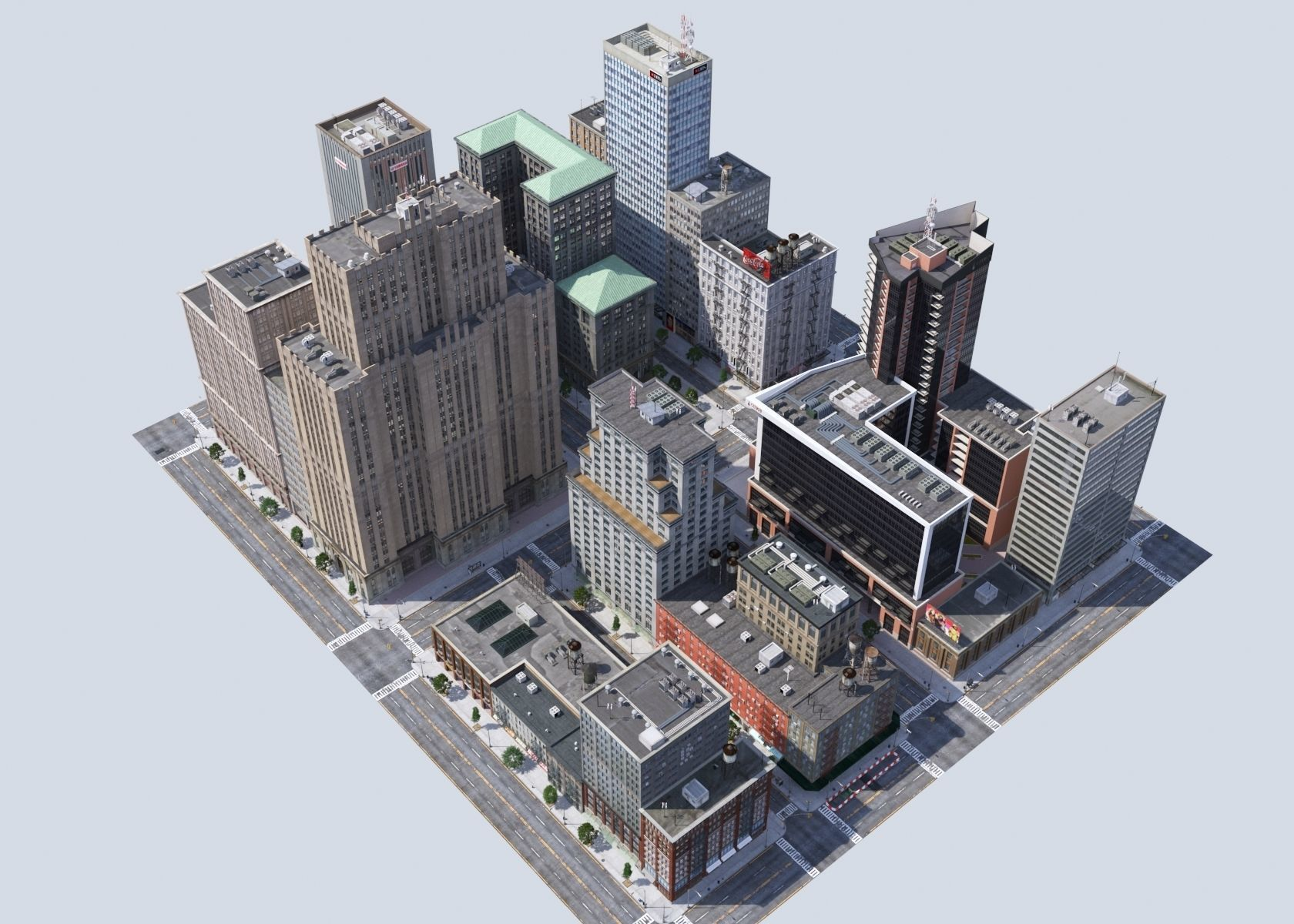 Metropolis city block 3D