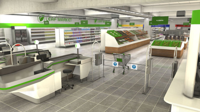 supermarket interior with lod 3d model low-poly fbx tga unitypackage prefab mat 1