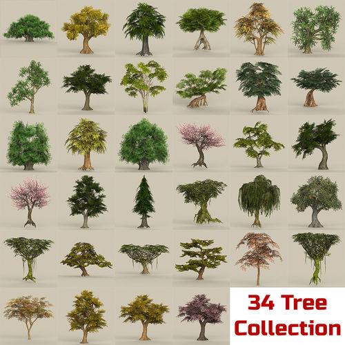 game ready biggest tree collection 3d model max obj mtl fbx c4d ma mb 1