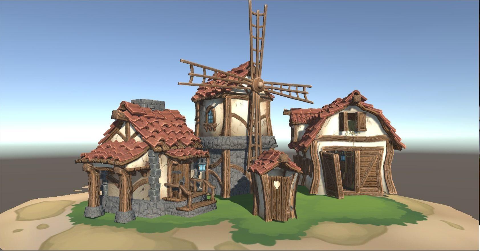 Stylized farm buildings