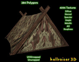 3d asset game-ready military tent 4 - textured