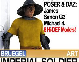 Imperial Soldier Props Bruegel Poser Daz 3D Model