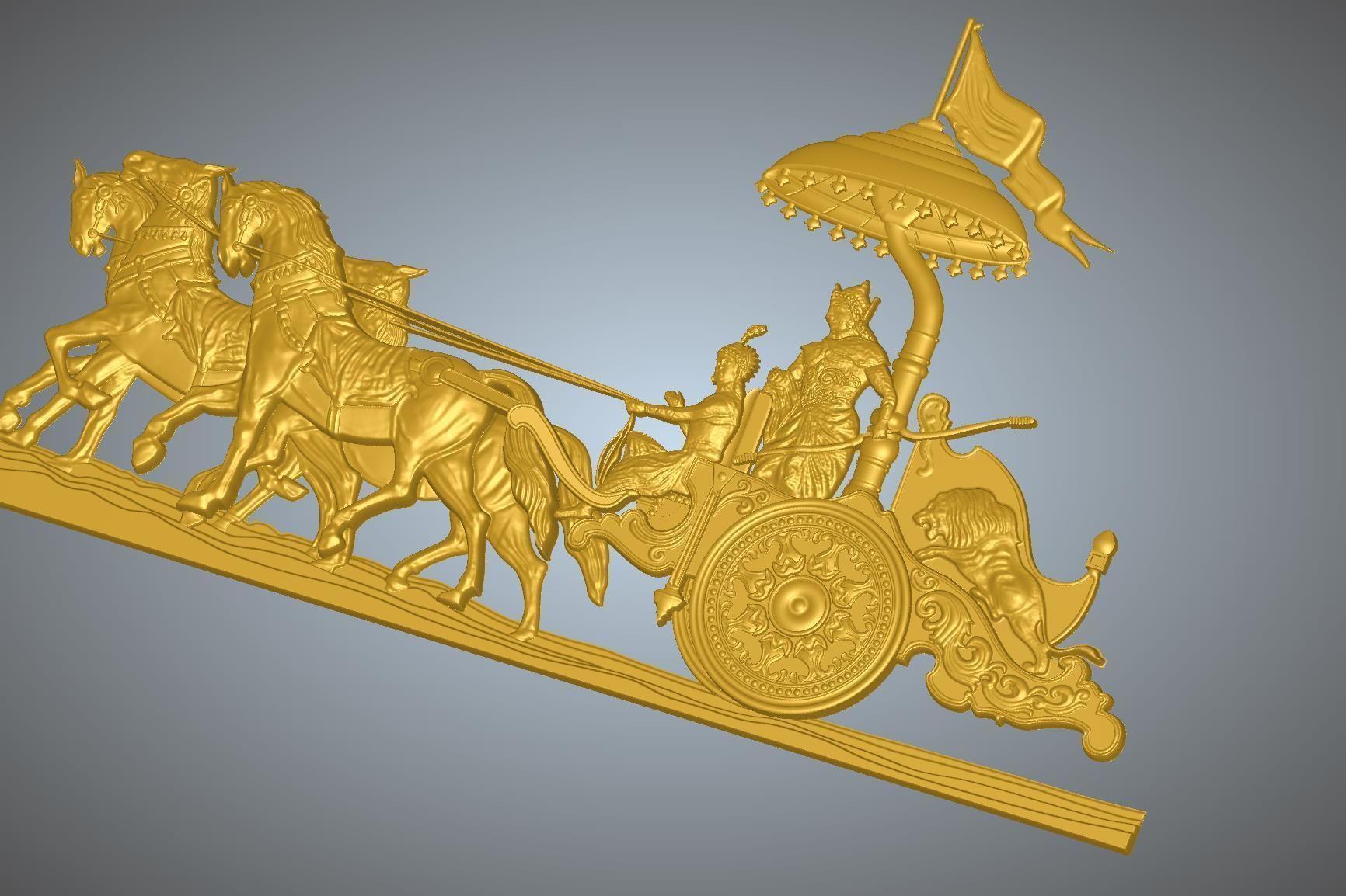 Krishna Arjuna Chariot Bhagwad Geeta