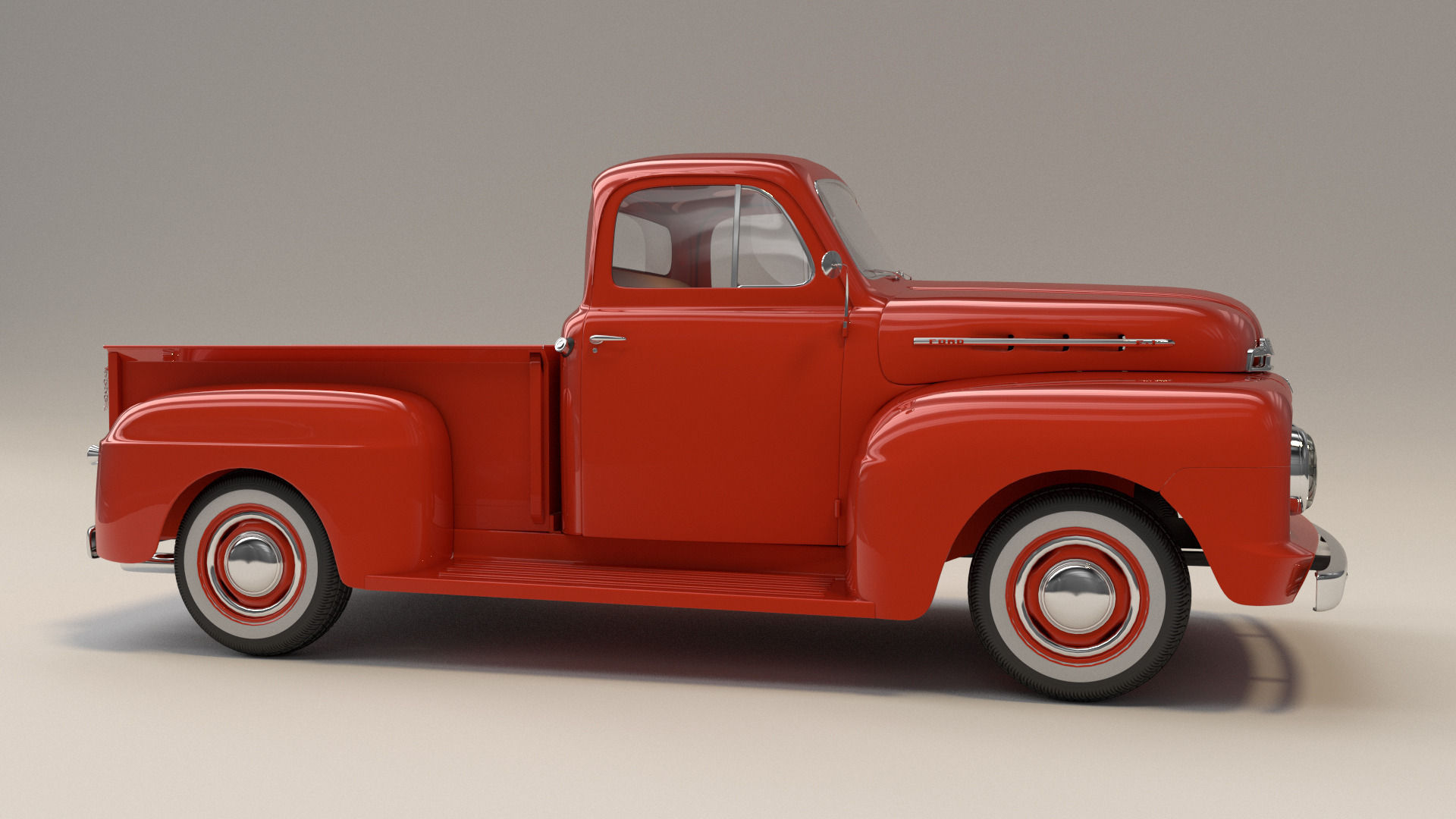 1951 ford f1 pickup truck 3d model obj fbx blend mtl. Black Bedroom Furniture Sets. Home Design Ideas