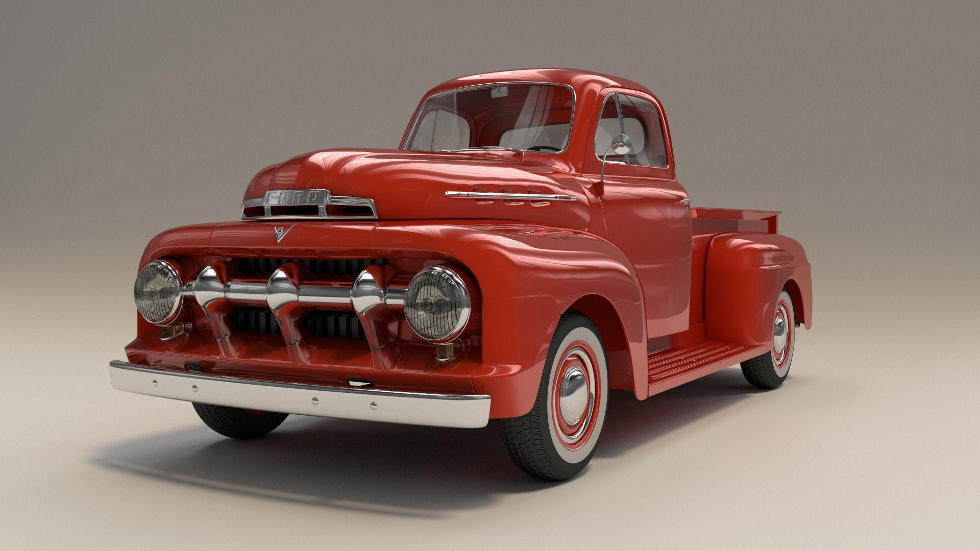 1951 ford f1 pickup truck 3d model obj fbx blend mtl. Black Bedroom Furniture Sets. Home Design Ideas
