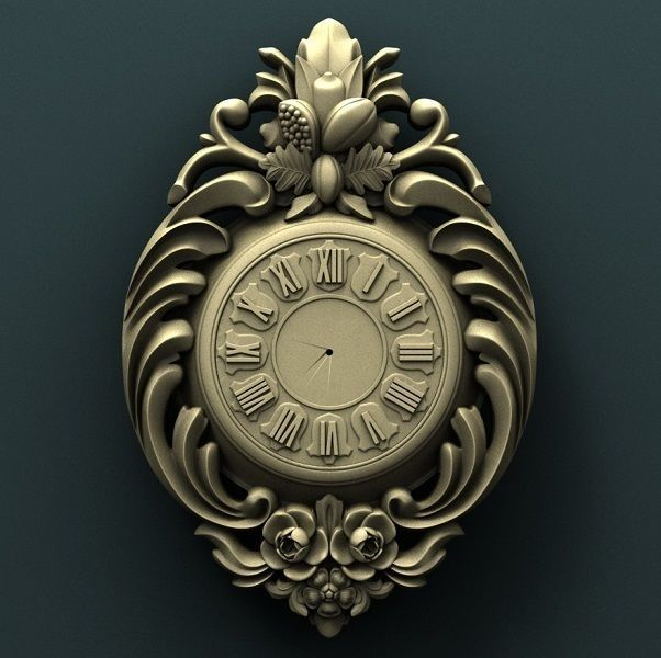 Wall clock 3d stl model for cnc
