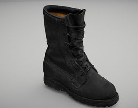Military boot low poly 3D model realtime
