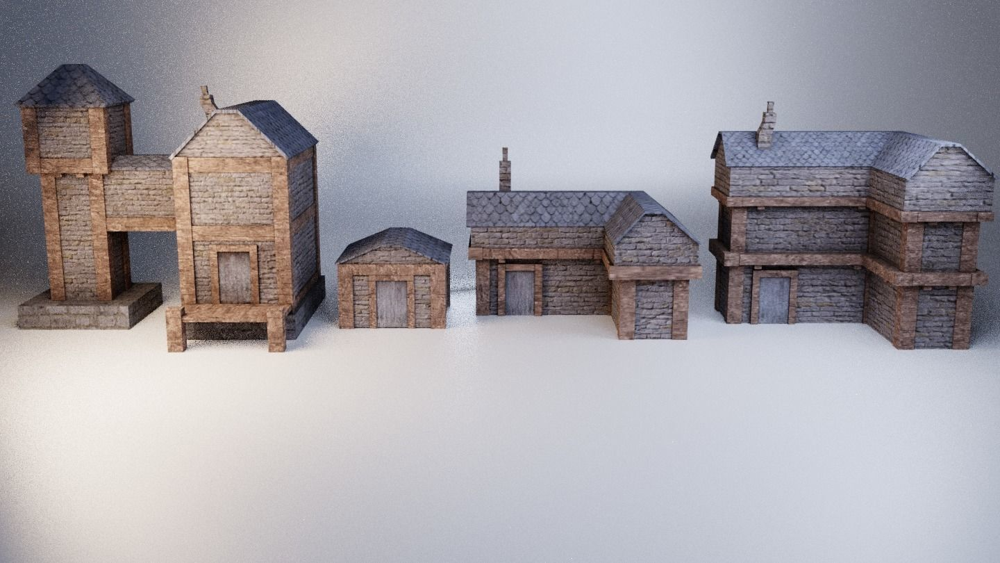 picture relating to Free Printable Model Buildings identified as 3D et 4 Lowpoly medieval structures CGTrader