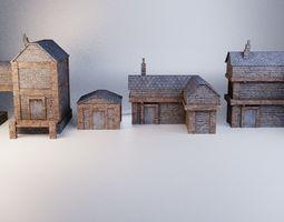 3D asset 4 Lowpoly medieval buildings
