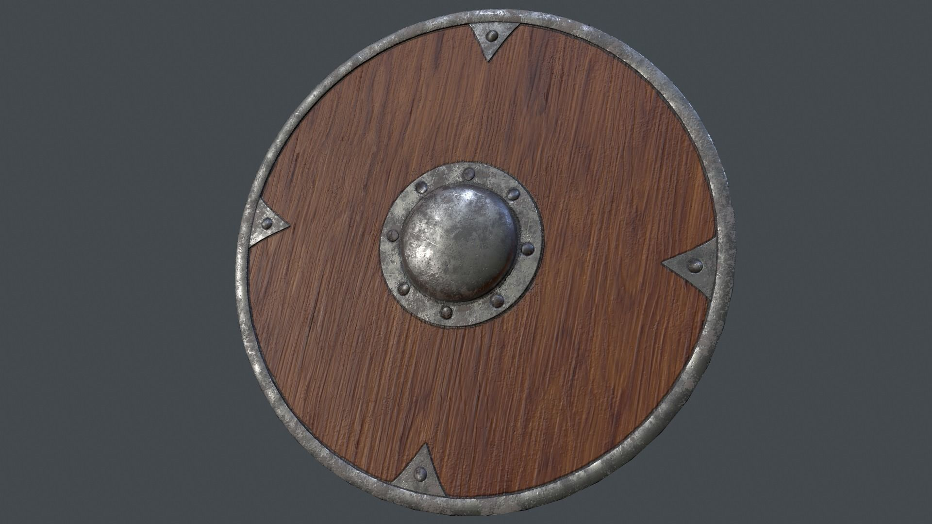 Spiked Brown Viking Shield 3d Model Obj Fbx 1