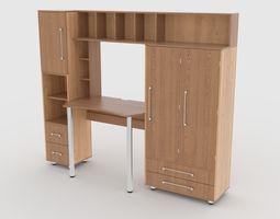 3D asset computer desk wall 4