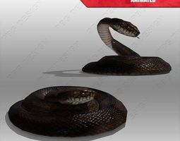 snake animated low-poly 3d model