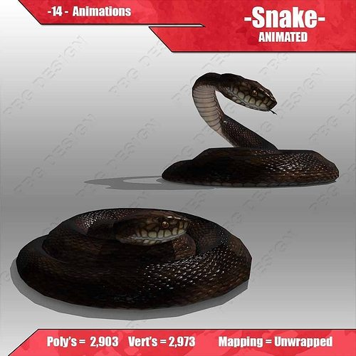 snake animated 3d model low-poly rigged animated max fbx 1